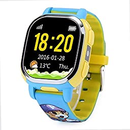 Tencent QQ Watch GPS Tracker Wifi Locating Kids Smart Watch Phone SMS Steps Voice Chat for Children Safe Security SOS Alarm Camera Locating And Image Interaction (Blue )