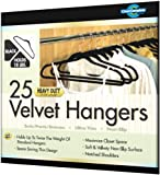 Closet Complete Ultra Thin Heavy Duty No Slip Velvet Suit Hangers, Black, Set of 25
