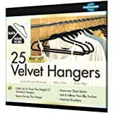 Closet Complete Ultra Thin Heavy Duty No Slip Velvet Suit Hangers, Black, Set of 25 ~ Closet Complete