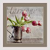 """Dutch Tulip II"" framed flower poster print by Guy Cali, white finish frame/museum matted 18"" x 18"""