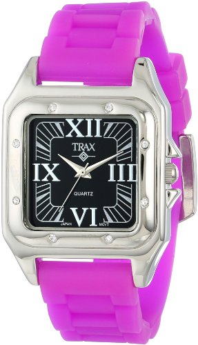 Trax Women's TR5132-BPR Posh Square Purple Rubber Black Dial Watch