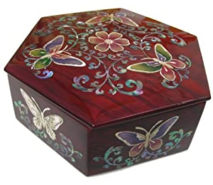 Silver J Wood Jewellery Box, Hexagonal Oak Trinket Case, Handmade Mother of Pearl Gift, Colored Butterfly.