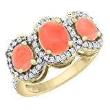 14K Yellow Gold Natural Coral 3-Stone Ring Oval Diamond Accent, sizes 5 - 10