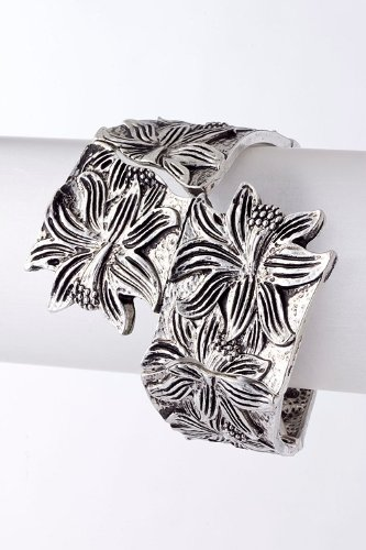 Trendy Fashion Jewelry Metal Flower Wrap Bracelet By Fashion Destination | (Antique Silver)