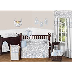 Sweet Jojo Designs Blue, Gray and White Avery Damask Print Girl or Boy Baby Bedding Collection Unisex 9pc Crib Set