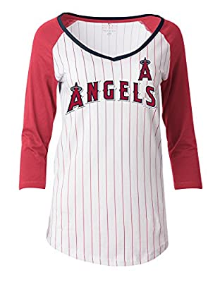 MLB Los Angeles Angels Women's Pinstripe 3/4 Sleeve Jersey, White, Large