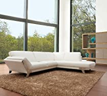 Hot Sale 533 - Modern White Italian Leather Sectional Sofa
