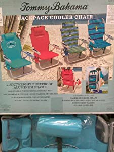 Buy ***2 Turquoise Tommy Bahama Backpack Cooler Beach Chairs, Umbrella & Beach Cart Combo*** by Tommy Bahama