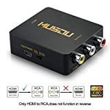 Musou 1080P HDMI to RCA Composite AV Video Audio Converter Support NTSC/PAL for Xbox One,Blu-ray,DVD,PS4,Roku,Chromecast,Laptop,Amazon Fire TV Stick,Apple TV,Black