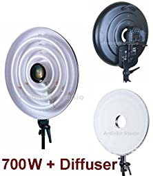 Ardinbir Studio Photo 700W 5400K Daylight Continuous Cool Fluorescent Macro Ring Light Lamp Kit with White Diffuser for SLR DSLR Camera Photography Video Lighting