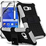 ( White ) Samsung Galaxy Young 2 GM-130 Case Custom Made Case Tough Survivor Hard Rugged Shock Proof Heavy Duty Case W/ Back Stand, LCD Screen Protector Guard, Polishing Cloth & Mini Retractable Stylus Pen by ONX3®
