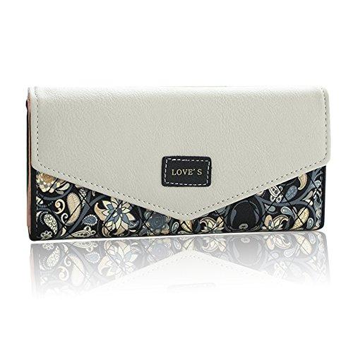 Uming® Colorful Fashion Variopinta moda PU delle donna della borsa borsa del portafoglio signora Clutch Wallet Purse borsetta Hasp Card Slots Pouch Handbag Flower Pattern | Love-Black