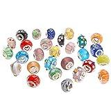 Adorox Lampwork Glass European Charm Beads (Various Colors 7 Designs) (Assorted (50pcs))