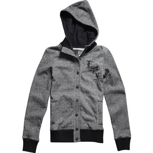 Fox Racing Seige Snap Girls Hoody Racewear Sweatshirt/Sweater - Black / Small