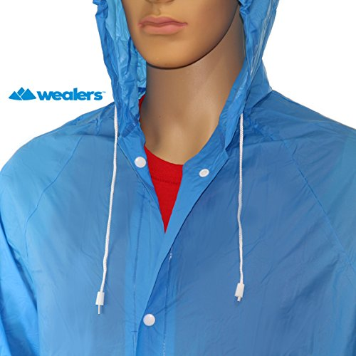 Wealers Adult Portable Lightweight PVC Long Size Hooded Raincoat, Reusable Rainwear, with Pockets and a Carry Bag (Blue, Medium - Length: 44 inches)