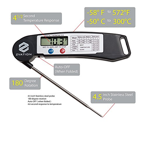 Digital thermometer with instant read long foldable probe for all