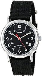 Timex Men's Weekender Analog Black Canvas Strap Watch