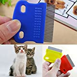 ZGY 5Pcs Portable Durable Small Pet Dog Puppy Cat Flea Cleaning Comb Stainless Steel Pin Grooming Brush Tool Random Color