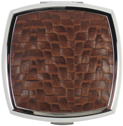 Stratton Brown Weave Large Square Silver Dual Mirror
