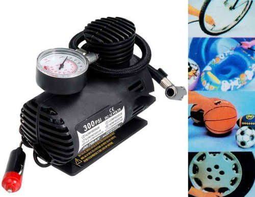 Mini 12V 250PSI Air Compressor Tire Inflator Tool for Car Use (Black)