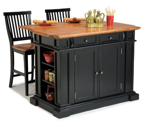 Cheap 3pc Kitchen Island and Stools Set in Black and Oak Finish (VF_HY-5003-948)