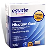 Equate - Nicotine Gum Polacrilex 2 mg, Stop Smoking Aid, Original Flavor, 170 Pieces