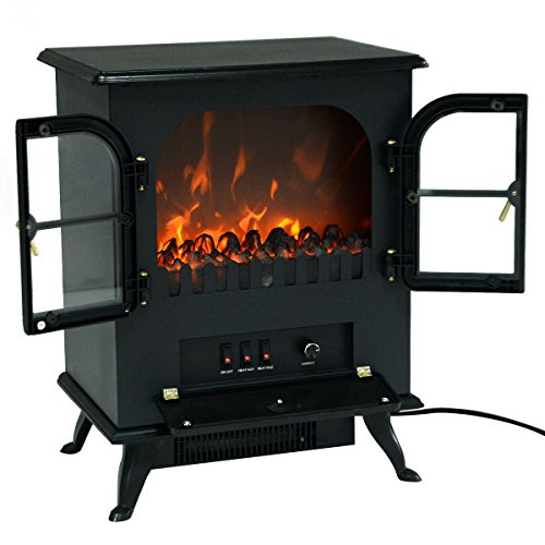 MasterPanel - Free Standing Electric 1500W Fireplace Heater Fire Flame Stove Wood Adjustable #TP3282 (Fireplace Glass Doors Gunmetal compare prices)