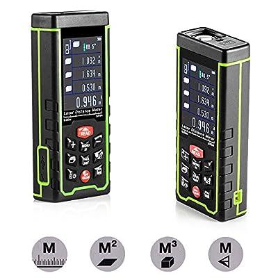 50m/164ft Laser Angle and Distance Measurer,GoerTek® Portable Digital Handheld Laser Diastimeter,Area/Volume/Pythagoras Measuring Tool with 3*AAA Rechargeable Batteries(Included)