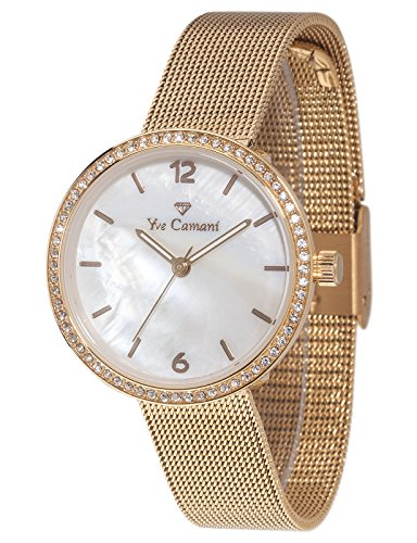 Yves Camani Women's Ophelia Quartz Watch with Mother of Pearl Dial Analogue Display and Gold Stainless Steel Bracelet YC1085-C