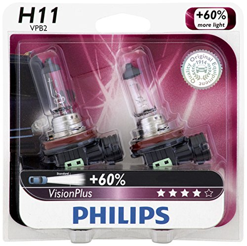 Philips H11 VisionPlus Upgrade Headlight Bulb, 2 Pack (2004 Acura Tsx Headlight Bulb compare prices)