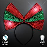 Sequin Light Up Green & Red Christmas Bow Headband