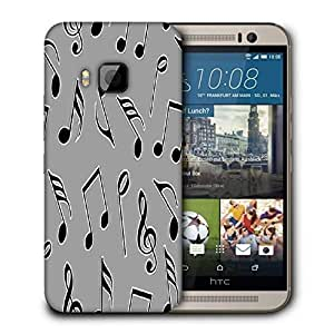 Snoogg Black Music Strings Printed Protective Phone Back Case Cover For HTC One M9