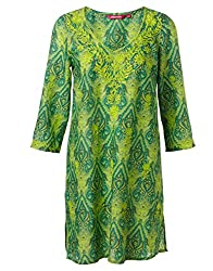 KASHANA Cotton Lime Green Paisley Printed Embroidered Kurti Tunic for Women Girls Ladies
