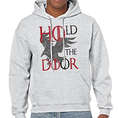 Felpa Con Cappuccio Uomo Serie TV Game Of Thrones Stampa Hold The Door, Colore: Cenere, Taglia: XL