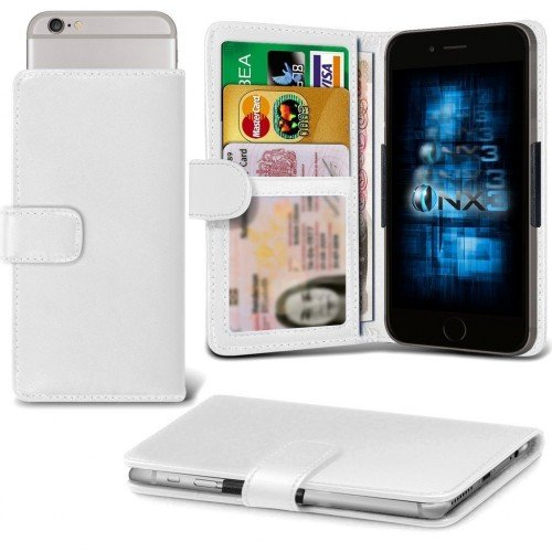 Samsung Galaxy J1 Ace Adjustable Spring Wallet ID Card Holder Case Cover (White) Plus Free Gift, Screen Protector and a Stylus Pen, Order Now Best Valued Phone Case on Amazon! By FinestPhoneCases (Samsung Ace 2x compare prices)