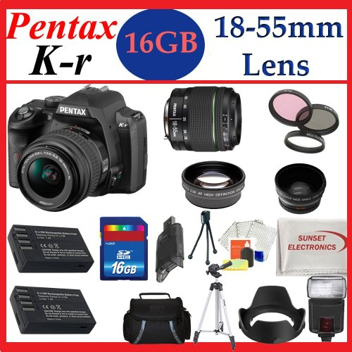 Pentax K-r Digital SLR Camera with 18-55mm Lens (Black) + Huge Accessories Package Including Wide Angle Macro Lens + 2x Telephoto Lens + 3 Pc Filter KIT + 16gb Sdhc Memory Card & Much More!!