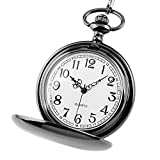 Jechin Classic Pocket Watch - Black, Hunter Case, 14'' Chain, Comes in Silk-Lined Gift Box