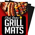 Chef Remi Grill Mat - Lifetime Guarantee - Set Of 2 Heavy Duty, Non-Stick Grilling Mats - 16 x 13 Inch - Use on Gas, Charcoal, Electric BBQ Grills - Made With USA Raw Materials- Ideal Fathers Day Gift