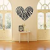 Zebra Print Stripe Heart Wall Sticker Decal Mural Art Vinyl Lettering Saying Wall Decors for Home Room