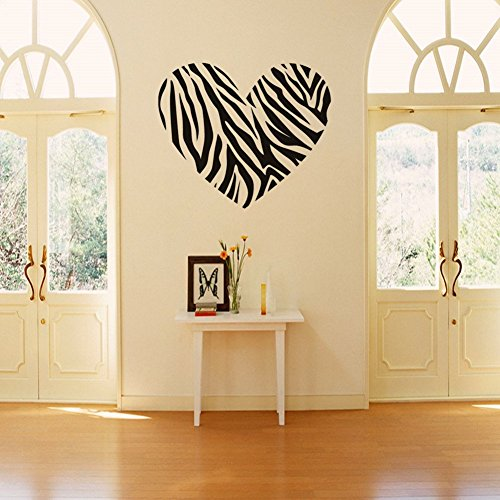 Zebra print stripe heart wall sticker decal mural art for Mural lettering