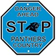 """Carolina Panthers Plastic Stop Sign """"Danger Ahead Panthers Country"""""""