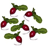 6 Artificial Radishes - Plastic Decorative Vegetables