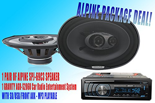"Alpine Packpage Deal! 1 Pair Alpine 6X9"" Spj-69C3 Car Speaker + 300W Gravity Agr-S206U Car Stereo Receiver - Built-In Sd/Usb/Front Aux - Mp3 Playable"