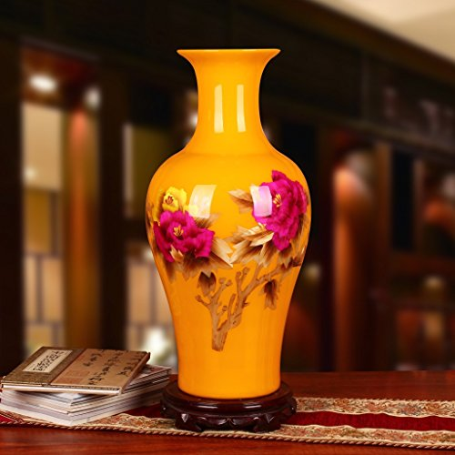 hankook-chinaware-jaune-paille-pivoine-grande-douille-pied-de-biche-ornements-artisanaux-de-vases-de