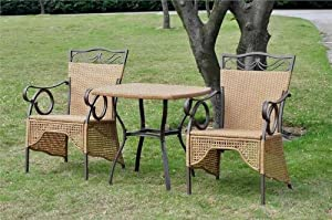 International Caravan Set of 3 Valencia Resin Wicker Skirted Bistro Set from International Caravan Inc