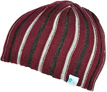Alki'i Ribbed heavy gauge mens/womens warm beanie snowboarding winter hats - Burgundy