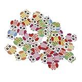 50 Colorful Eule Form DIY Holzknöpfe für Nähen und