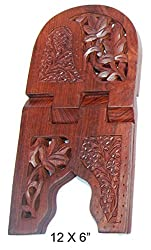 Aarsun Wooden Hand Carved Rehal Kashmiri - Holy Books Stand Jali and Floral Design 12 inch