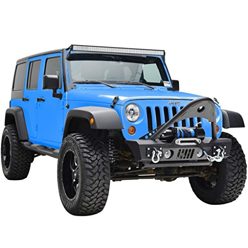 RF Jeep Wrangler JK Black Textured Front Bumper with Stinger and Built In Winch Plate Jeep Grille Design