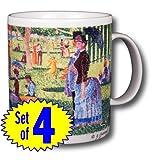 Sunday-Afternoon-on-Island---George-Seurat-14oz-Coffee-Mugs-Set-of-Four